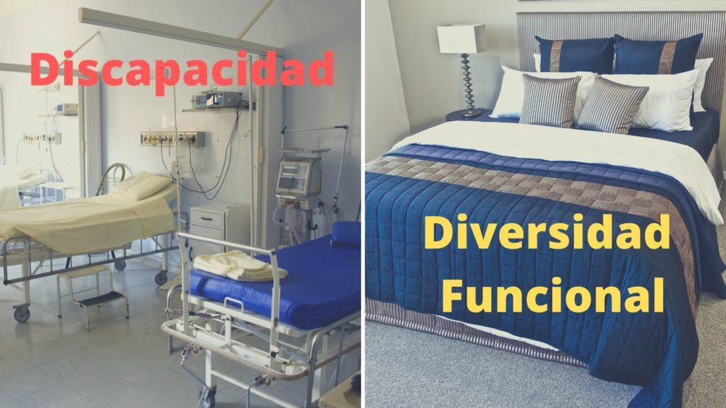 a la izquierda unas camas de hospital, a la derecha una cama de casa u hotel