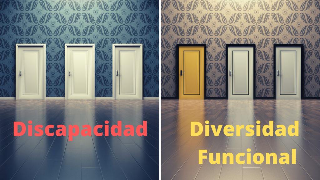 a la izquierda varias puertas iguales y pone discapacidad, a la derecha puertas de varios colores y pone diversidad funcional